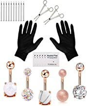 Jconly 20Pcs Professional Piercing Kit Multicolor Steel 14G CZ Belly Navel Ring Body Piercing Set Piercing Tool Piercing Supplies