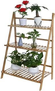 Juesi Plant Stand Rack Flower Display Shelf - 3-Tier Foldable Bamboo Ladder Shelf Balcony Pot Racks Planter Organizer Display Shelves for Indoor Outdoor Garden Greenhouse, 27.5 x 38 x 16 Inch