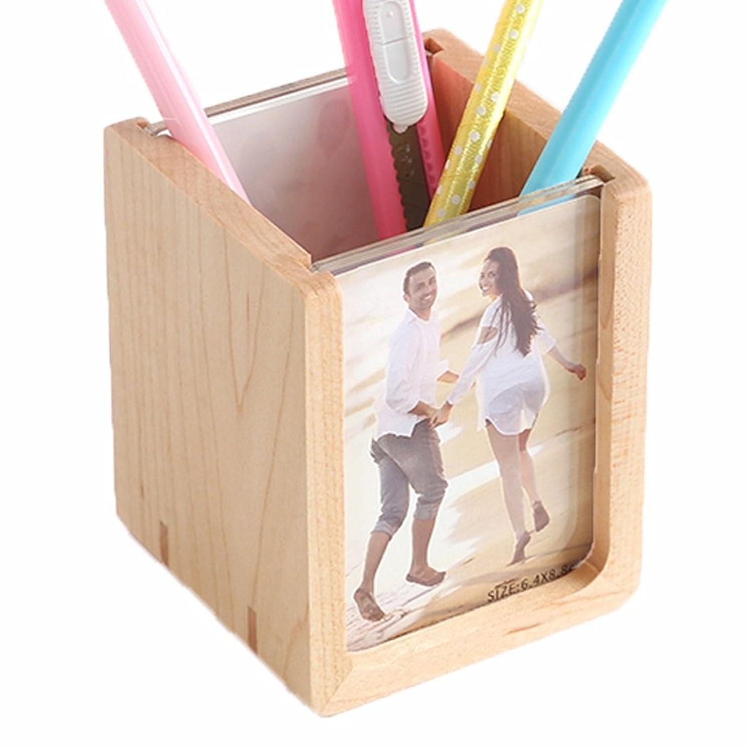 口頭不屈講師GWM クリエイティブファッション木製フォトフレームソリッドウッドデスクトップストレージボックスホリデーギフト小さな新鮮な装飾品
