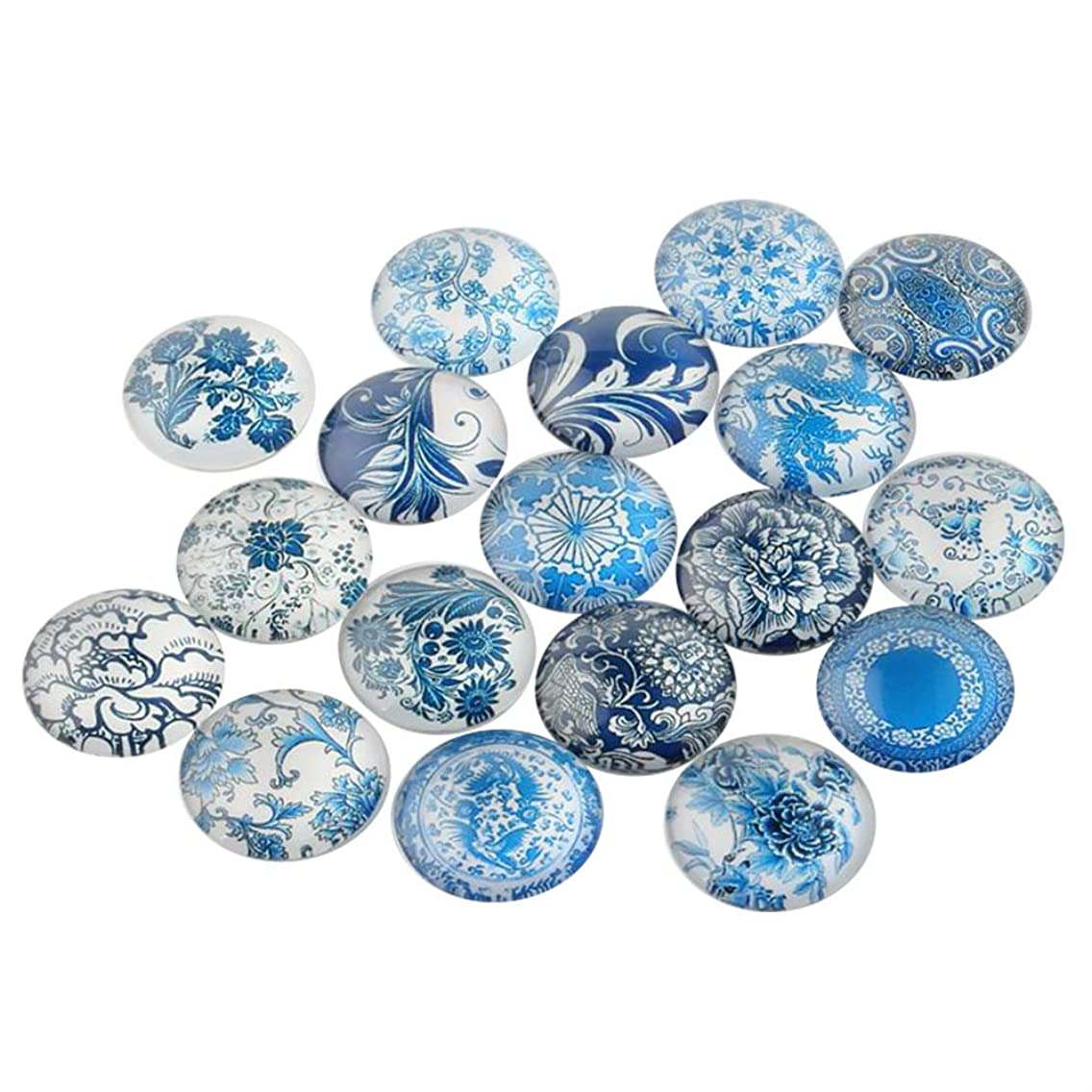ARRICRAFT 200pcs Floral Printed Glass Cabochons 10mm Flat Back Half Round Domed Cabochon Beads for Crafting DIY Jewelry Making