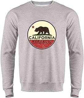 Pop Threads California Republic Flag Bear Retro Crewneck Sweatshirt for Men