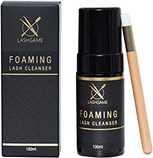 LASHGAME - Eyelash Extension Foaming Cleanser with Cleansing Eyelash Brush | Available in Single and Wholesale Pack | Safe and Gentle Formula for Cleaning Dirt & Oil | Pack of 15