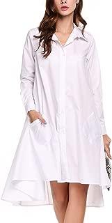 Women's Casual Irregular Hem Shirt Dress Loose Top Tunic with Pockets