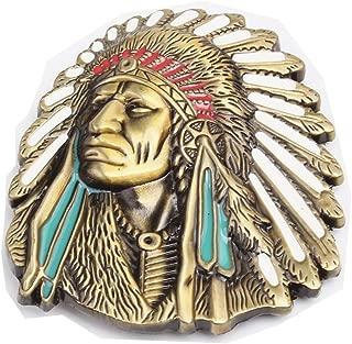 MASOP Native American Indian Belt Buckle, USA Mens Belt Buckles Jeans Accessory