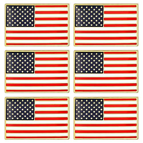 FaithHeart Banderas Rectangulares America 6 Piezas Pin Set Aleación Esmalte Broches Pasadores de Hierro