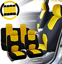 FH Group FB038114 Stylish Cloth Full Set Car Seat Covers w. Steering Wheel Cover and Seat Belt Pads, Yellow/Black- Fit Most Car, Truck, SUV, or Van