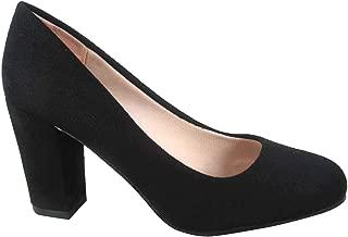 FZ-Songful-3 Women's Fashion Round Toe Chunky Heel Faux Suede Dress Pump Shoes