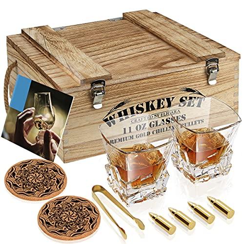 Juego de Madera Regalo de Vaso de Whisky, 4 Balas de Whisky de Oro, 2 Vasos de Whisky [Rotura de Vidrio = 100% de Reembolso], Pinzas, 2 Posavasos, Libros de Cócteles, para Hombres/Papá/Novio/Marido