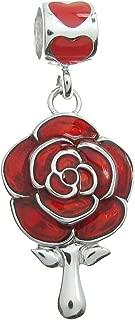 Rhodium-plated Sterling Silver Rose Mirror Enamel European Style Dangle Bead Charm