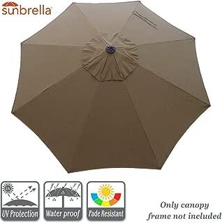 9 ft 8 Rib Umbrella Canopy Replacement Sunbrella Canopy Replacement for 9 feet Outdoor Patio Umbrella (Sunbrella Canopy Only, Cocoa)