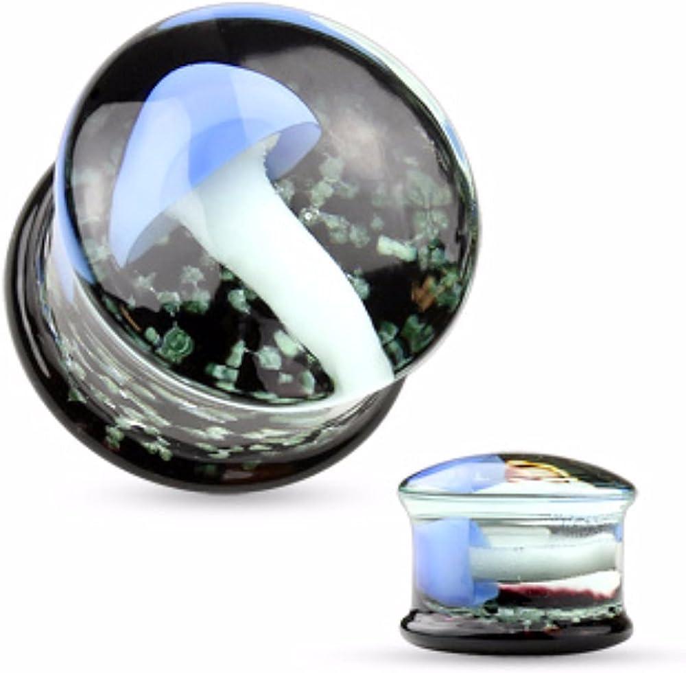 Covet Jewelry Floating Mushroom Encased Pyrex Glass Saddle Plug
