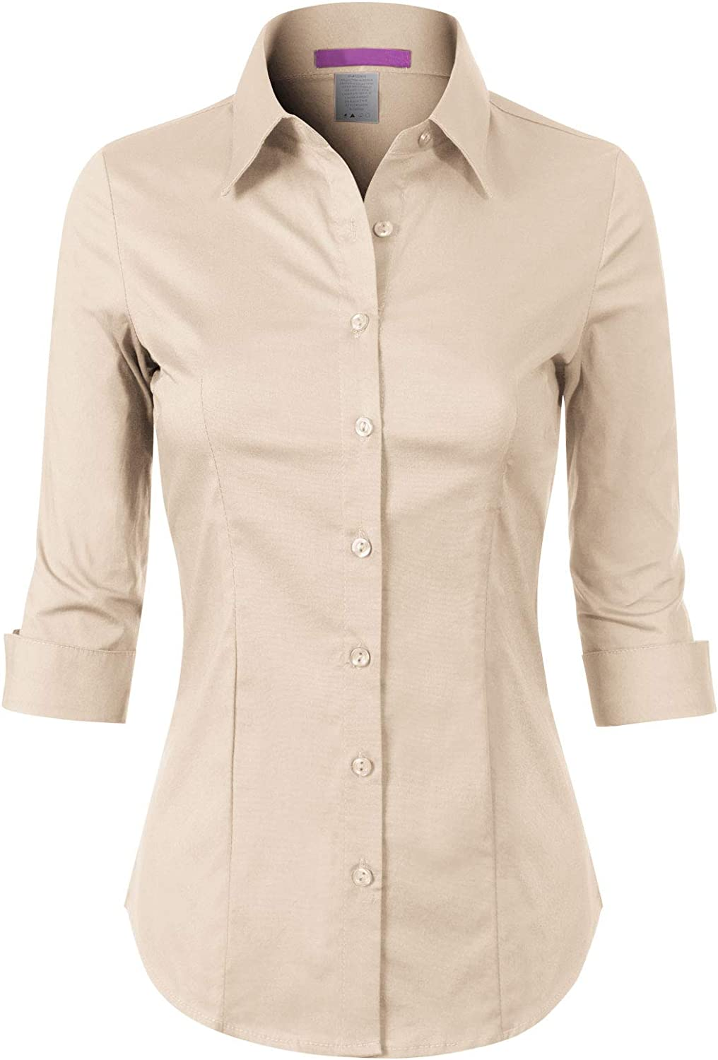 Design by Olivia Women's 3/4 Sleeve Stretchy Button Down Collar Office Formal Casual Blouse Shirts Top