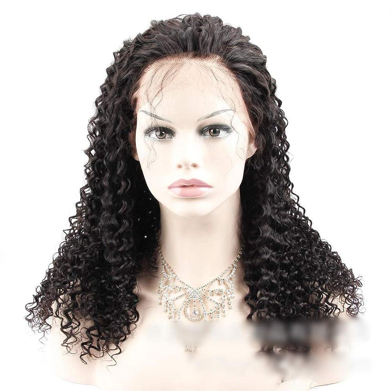 ヒップレジデンスつまずくIsikawan ナチュラルカラー人毛エクステンションブラジルカーリーヘアー360レース前頭閉鎖ジェリーカーリーレース前頭 (色 : ブラック, サイズ : 14 inch)