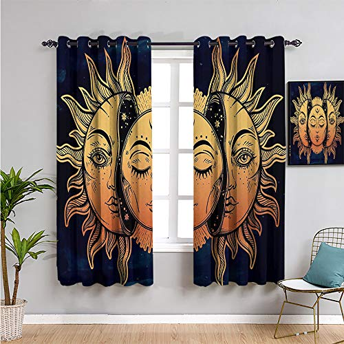 Psychedelic Soundproof Curtains for Bedroom, Curtains 39 inch Length Moon and Sun with Many Fractal Faces Celestial Energy Mystic Art Print Reduce Light Golden Dark Blue W54 x L39 Inch