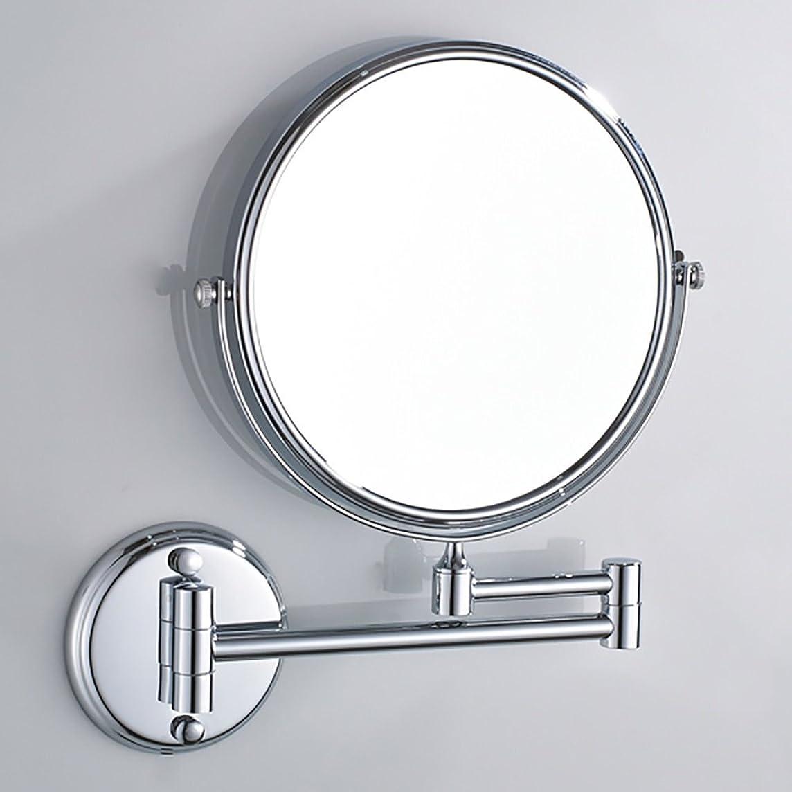 デッドロックセレナ治安判事Yxsd バスルームミラー 8インチ壁掛けシェービングミラー、3倍拡大バスルームメイクアップミラー、折り畳み式ダブルサイドコスメティック (Color : Silver)