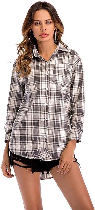 Huixin Camisas De Mujer Solapa Camisas De Botones De Camisa ...
