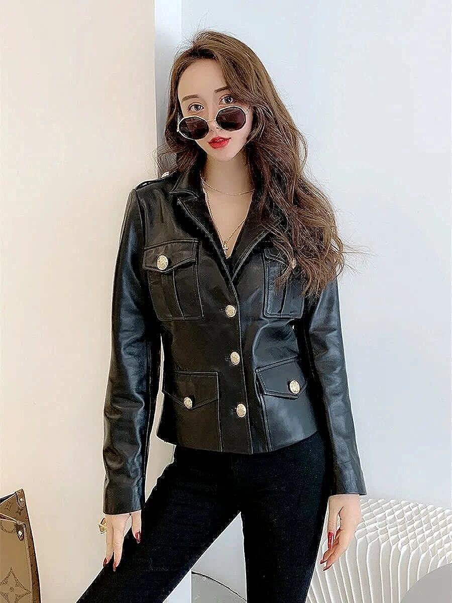 Mzhizhi Fashion Womens Leather Jacket - Real Lambskin Leather Jackets for Women