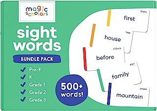 Magic Scholars Sight Words Flash Cards Bundle 5-Pack, Pre-K to Grade 3, (500+ Preschool, Kindergarten, 1st, 2nd & 3rd Grad...
