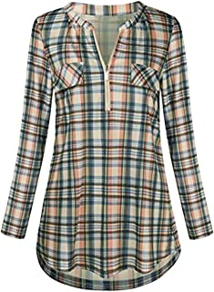 Qootent Women's Rolled Sleeve Zipped V Neck Plaid Shirt Casual Tunic Blouses