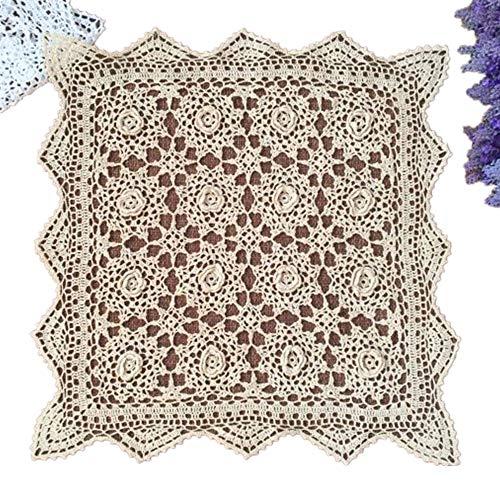 yizun hecho a mano Crochet encaje de algodón mantel manteles individuales blondas), diseño de cuadrados, 20cm, color beige