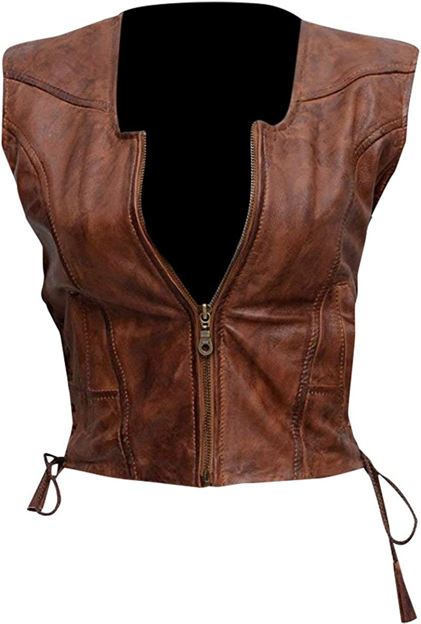 III-Fashions Womens Walking Motorcycle Michonne Brown Leather Vest