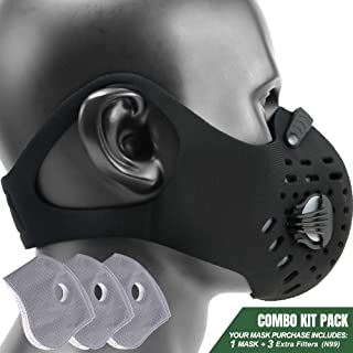 MONATA Reusable Dust Pollution Mask with Activated Carbon Filter and Earloop for Woodworking House Cleaning Gardening and Outdoor Activities