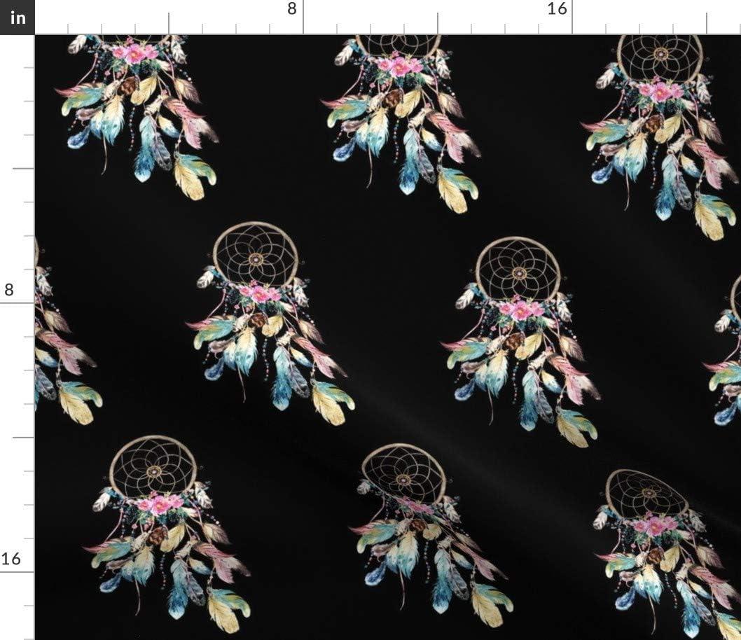Spoonflower Fabric - Bohemian Dreams Dream Dedication Boho Bombing new work Black Fe Catcher