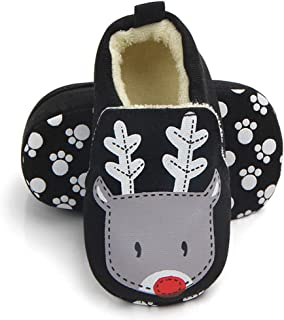 Sawimlgy US Infant Baby Non Skid Adjustable Slippers Boys Girls Fleece Booties with Grippers Cartoon Moccasins Socks Frist Crib Shoes