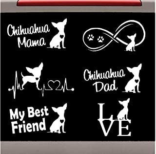 Bluegrass Decals 6-Count Chihuahua Heartbeat Infinity Mama Dad Dog Decal Sticker Set Value Pack E1079