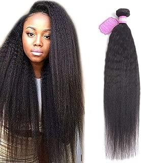Odir Brazilian Kinky Straight Human Hair Bundles 1 Bundle 26 inch Yaki Straight Human Hair Weave Bundles 100% Unprocessed Brazilian Virgin Human Hair Weft Natural Color
