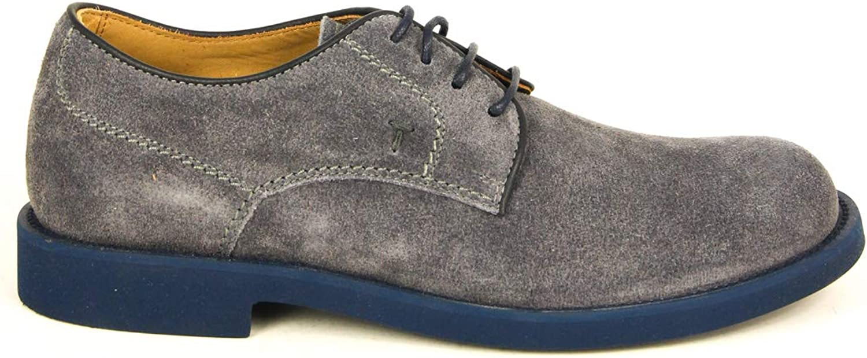 Tod's Men's Derby Shoes Leather Oxfords Sneakers, BLU Denim CHIARO