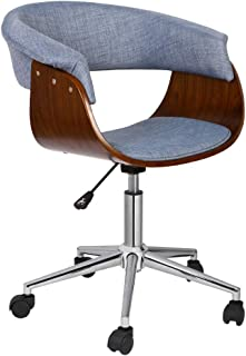 Porthos Home DeluxeBentwood Style Office Chairs with Arms,Caster Wheels,360 Degree Swivel, Height Adjustable, Comfy,Hemp upholstery, One Size, Blue