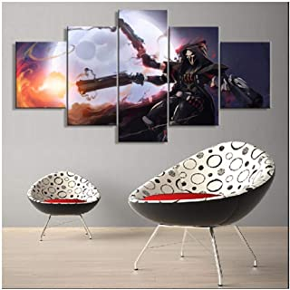 Junewind Canvas Painting Modern Canvas Printed 5 Panel Game Poster Overwatch Reaper Cuadros Wall Art Painting Home Decor for Living Room Artwork Pictures-Size
