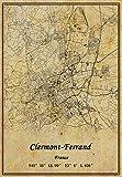 Póster de Francia Clermont-Ferrand con mapa para pared, diseño de mapa, estilo vintage, sin marco, 30,5 x 40,6 cm