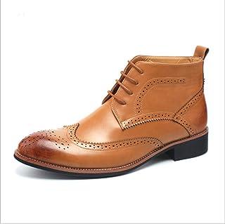 ZRH Chaussures Homme Hiver Chelsea Boot for Hommes Haut Haut Bas Talon Bottines Tirez sur Dentelle Bout Pointu en Cuir Mic...
