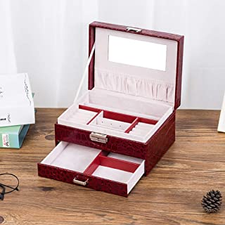 Jewelry Storage Box for Women Portable Square Decoration Storage Organizers with Drawer,Brown