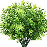 Wansong 8Pcs Artificial Eucalyptus Seedling Faux Shrubs Simulation Greenery Grass Leaves Plastic Plants Indoor Outdoor Outside Home Garden Office Kitchen Bathroom Verandah Wedding Décor