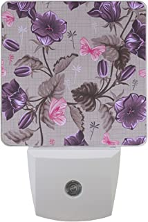 LED Night Light Lamp with Purple Flower Morning Glory Great for Bedroom Bathroom Hallway Stairways or Any Dark Room