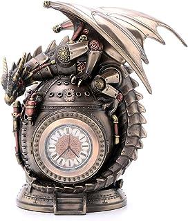 Veronese Design 7 Inch Steampunk Mechanical Dragon On The Time Machine Bank Vault Trinket Box Clock Antique Bronze Finish ...