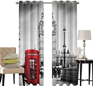 London Living Room Curtains 2 Panel Sets Famous Telephone Booth and The Big Ben in England Street View Symbols of Town Retro Home Decor Blackout Curtains W42 x L84 Inch Red Grey