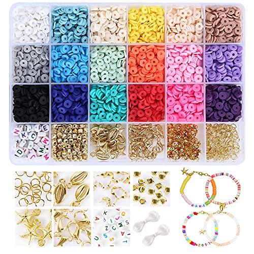 Everpertuk Set di Perline Fai da te per Bambini Adulti Perline Colorate Braccialetto di Argilla Kit Perline Piatte Rotondo Set Perline per Gioielli Collane Bracciale Regalo, Circa 3900 Pz 18 Colori