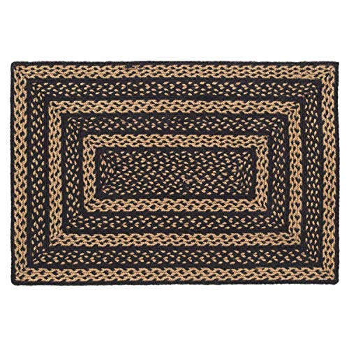 VHC Brands Farmhouse Jute Rectangular Rug 24x36 Country Braided Flooring, Country Black and Tan