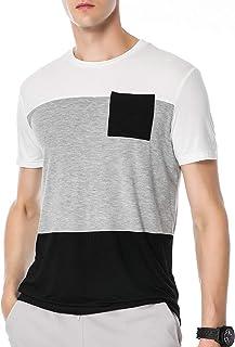 SEMARO Men's Crewneck Slim Fit T Shirt Block Color Tee Tops Work School Sports