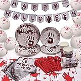 Halcyerdu Set di stoviglie per Tema Halloween insanguinate - Serve 16 Ospiti, Inclusi Banner, Palloncino, Bicchieri di Carta, copritavolo, Piatti, forchette, coltelli, cucchiai, tovaglioli