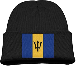 b35dc603b3f DeReneletrc Kid s Flag of Barbados Hats Winter Funny Soft Knit Children  Unisex Beanie Cap