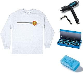NHS Santa Cruz Classic Dot Men's Long Sleeve T-Shirts,Ath Heather,Large - LG with CCS Skate Tool, Bearings, and Wax Grey