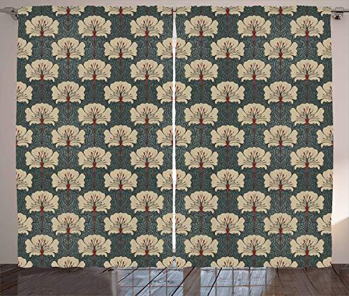 ABAKUHAUS Blumen Rustikaler Gardine, Jugendstil-Mohnblumen, Schlafzimmer Kräuselband Vorhang mit Schlaufen und Haken, 280 x 225 cm, Zinnoberrot Grau Tan