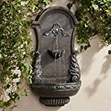 """John Timberland Tivoli Outdoor Wall Water Fountain 33"""" High 2 Tiered Ornate Acanthus Leaf for Yard Garden Patio Deck Home"""