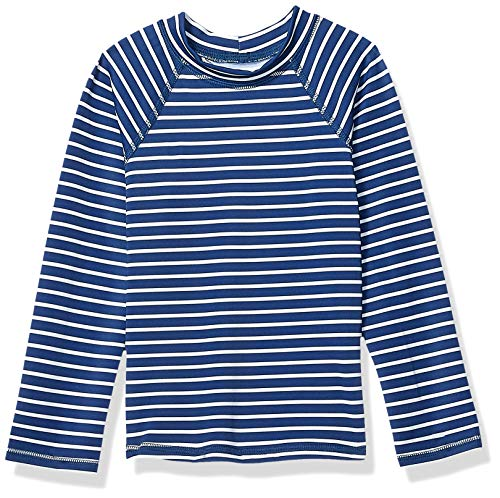 Amazon Essentials UPF 50+ Girl's Long-Sleeve Rashguard, Navy Stripe, Small