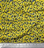 Soimoi Gelb Seide Stoff Leopard Tierhaut Stoff drucken